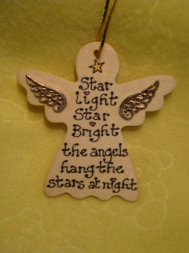 SALE** was £1.99 Inspirational Angel Wooden Hanger SignStar Light Star Bright The Angels Hang The Stars  Handmade Unique Shabby Chic